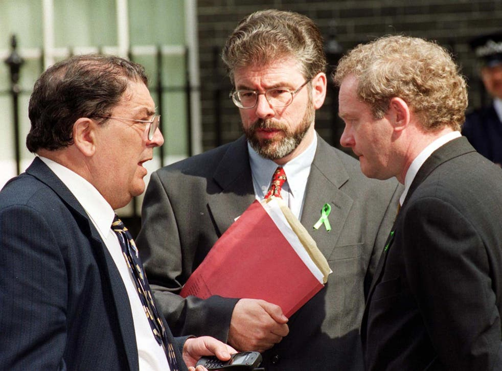 Gerry Adams (centre) in peace talks with Martin McGuinness (right) and the SDLP leader John Hume in 1999