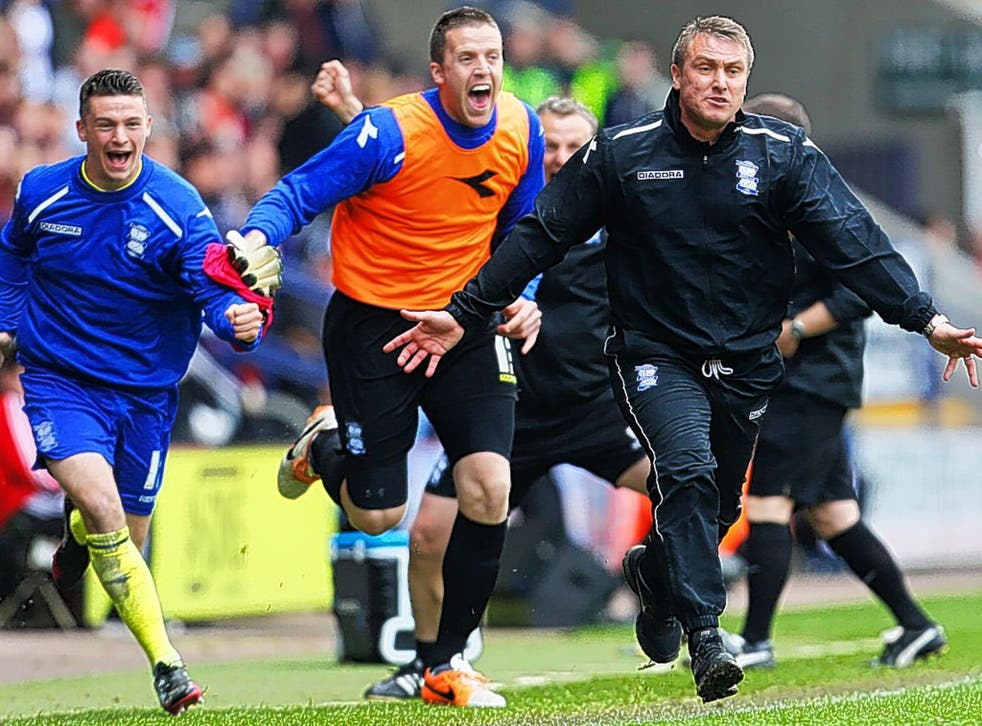 Lee Clark leads the celebrations after Paul Caddis headed an injury time equaliser that kept City up and sparked fans' joy