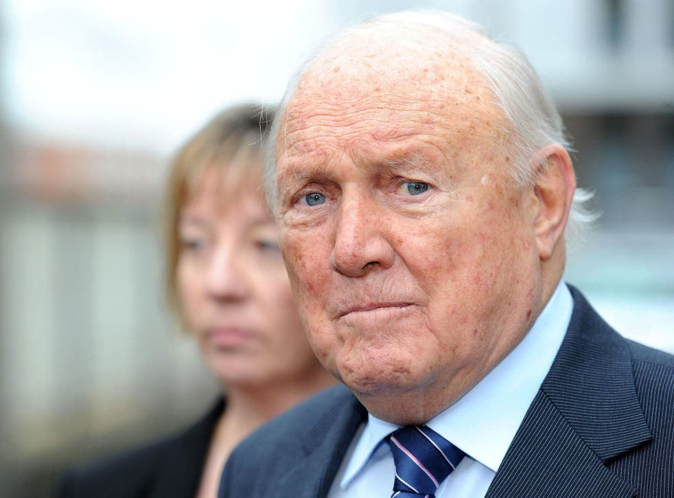 File photo shows Stuart Hall outside Preston Crown Court, where today he faced an ongoing trial into allegations of rape and indecent assault against two young girls