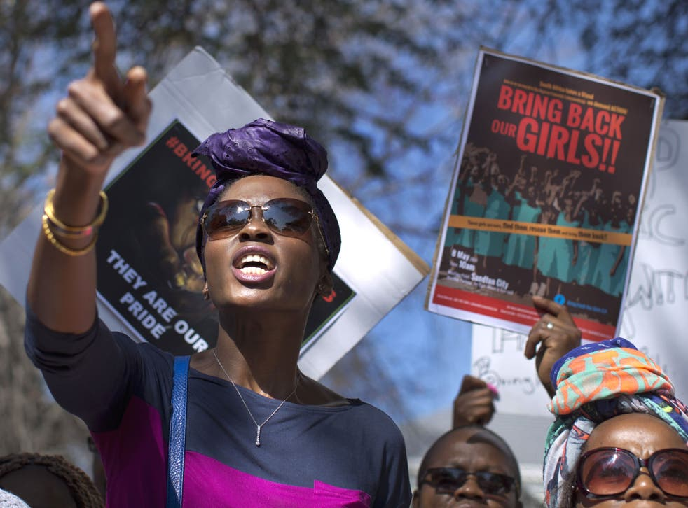 South Africans protest in solidarity against the abduction three weeks ago of hundreds of schoolgirls in Nigeria by the Muslim extremist group Boko Haram and what protesters said was the failure of the Nigerian government and international community to re
