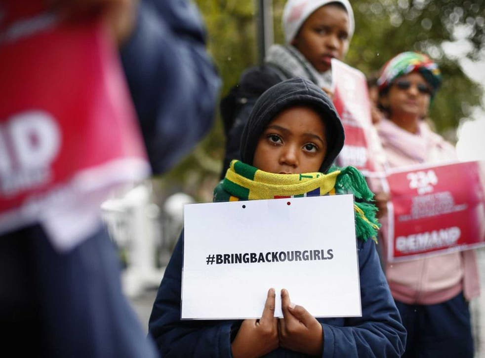Global anger: Protesters in Cape Town yesterday join a global Twitter campaign to bring pressure to bear to secure the release of  the Nigerian girls