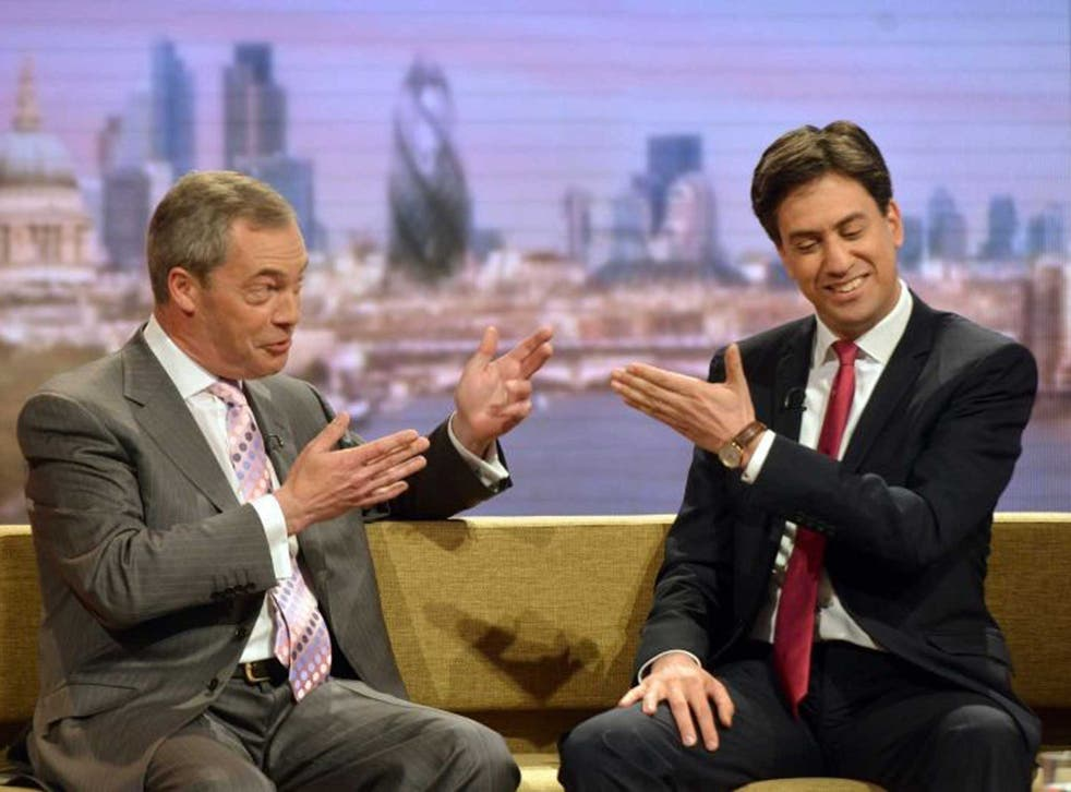 Making way: Ed Miliband has all but conceded Newark, allowing Nigel Farage's Ukip party a free run at the Tories
