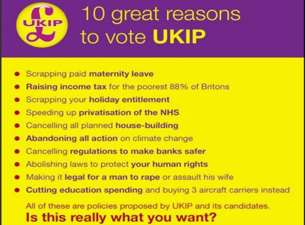 Michael Abberton posted a 'mocked-up' Ukip poster on his Twitter account