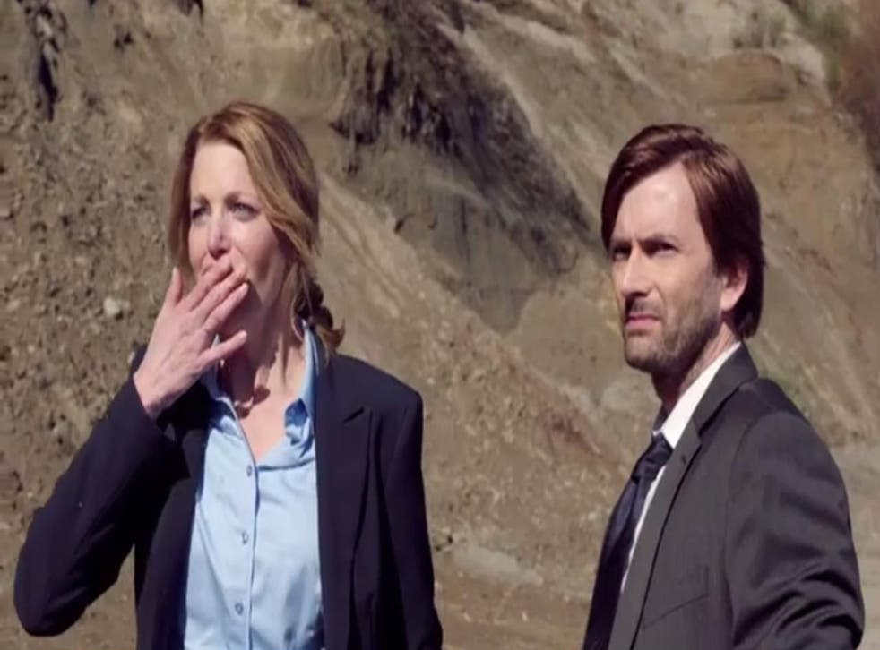 Anna Gunn and David Tennant star in 'Gracepoint', the US version of Broadchurch