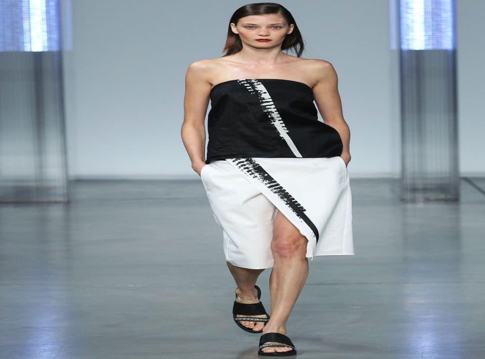 Skorting the issue: model wears Helmut Lang spring/summer 2014