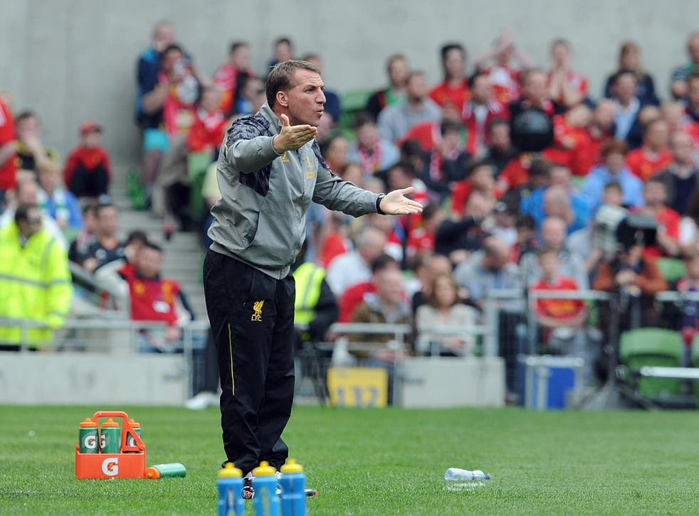 Brendan Rodgers on the touchline during Liverpool's friendly victory over Shamrock Rovers
