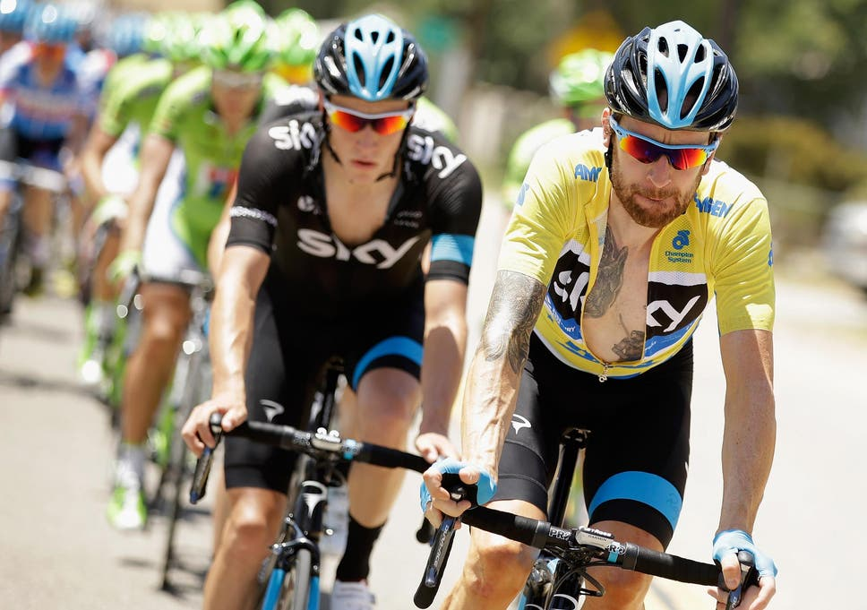 198ea9bb7 Bradley Wiggins of Great Britain riding for Team Sky defends his yellow  jersey during stage five