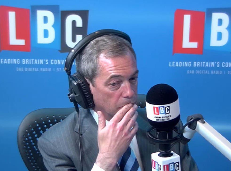 Ukip leader Nigel Farage looked increasingly uncomfortable as he was grilled on LBC