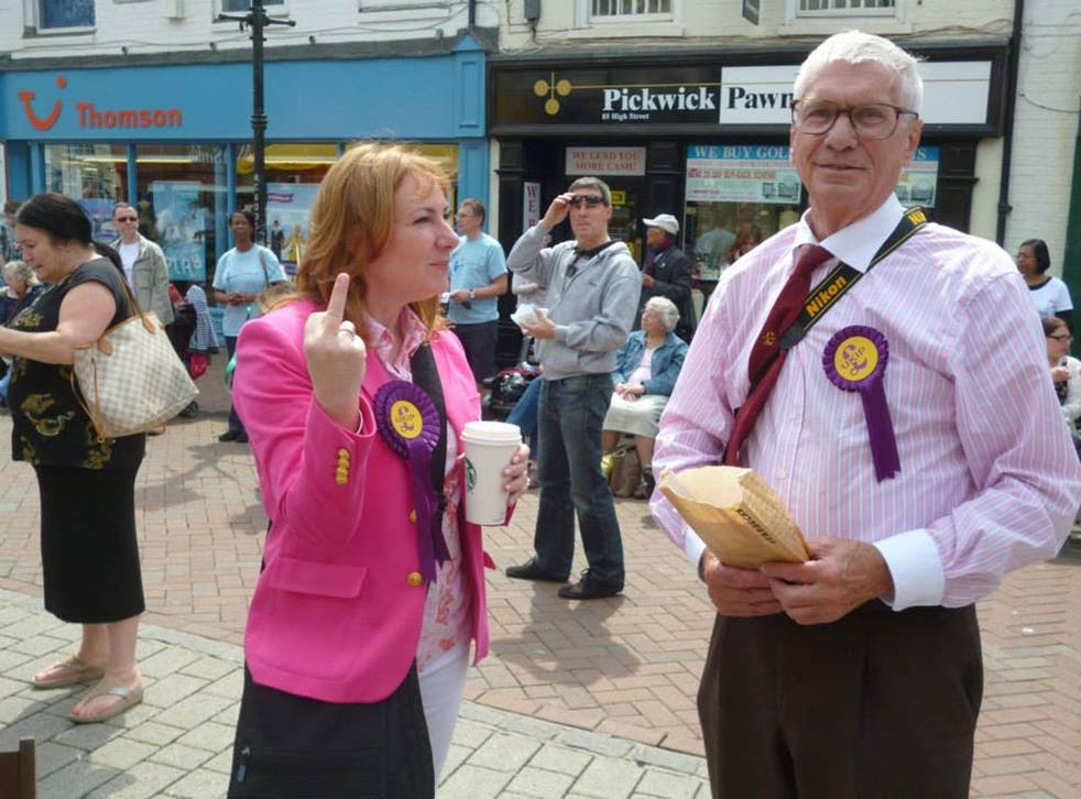 Janice Atkinson, Ukip's South East chair, pictured by protesters while campaigning in Ashford, Kent with local party chair Norman Taylor