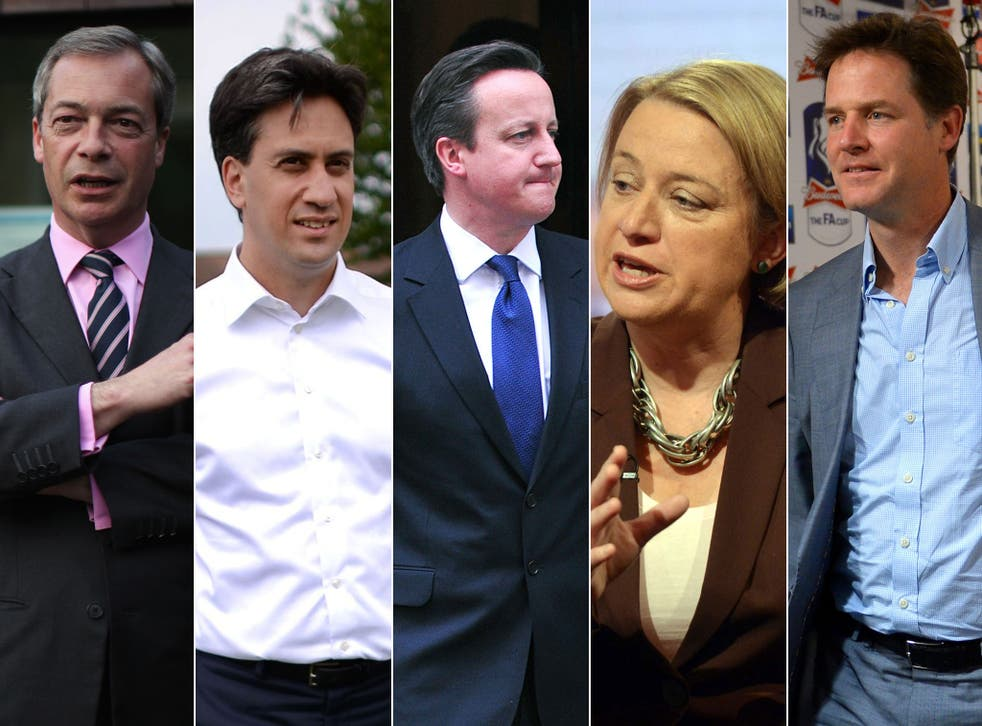 From left: Nigel Farage; Ed Miliband; David Cameron; Natalie Bennett; and Nick Clegg