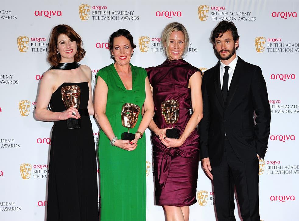 Broadchurch cast Jodie Whitaker, Olivia Colman and Simone McAullay with the show's three Baftas