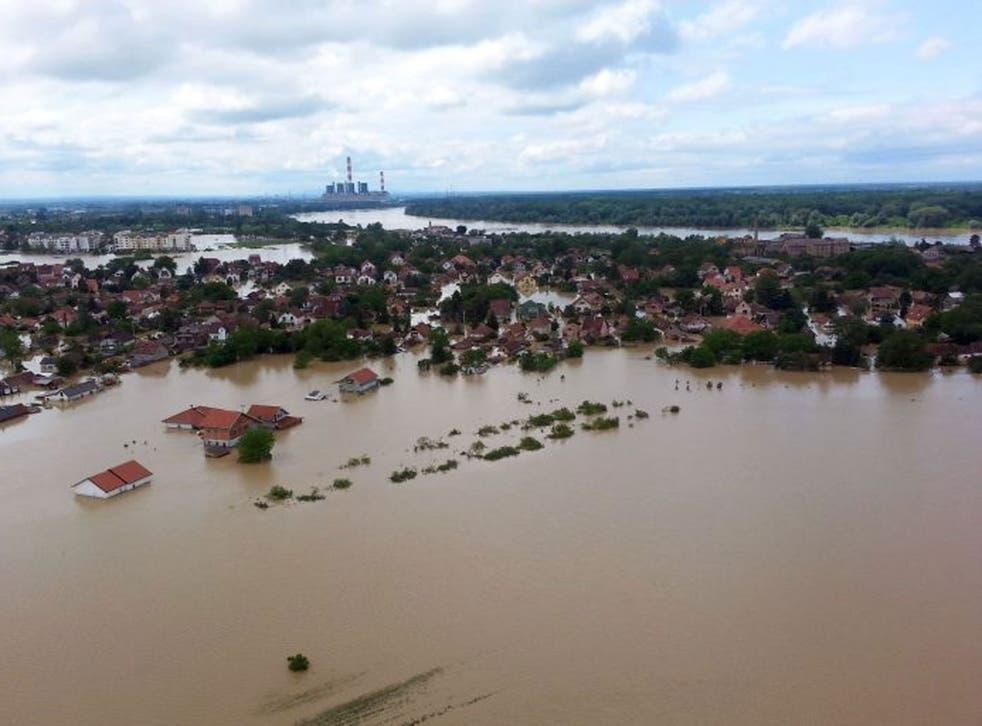 The flooded area in Obrenovac, some 30 kilometers (18 miles) southwest of Belgrade, Serbia