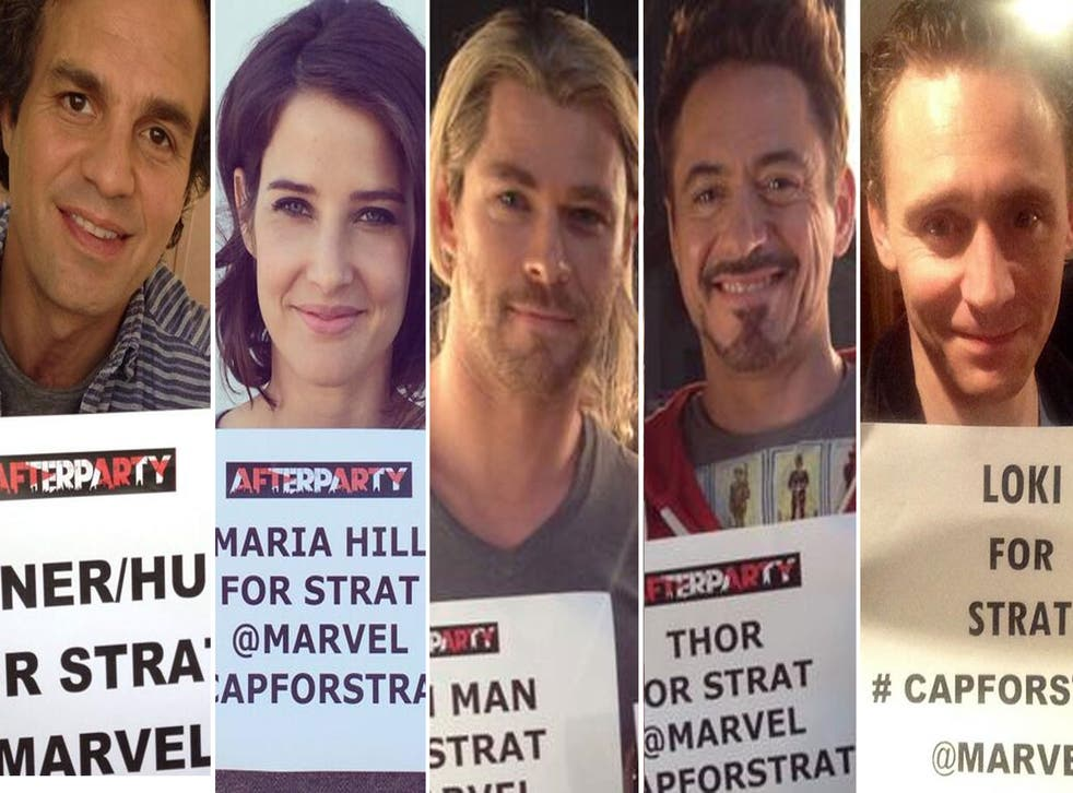 The #CapForStrat campaign was supported by some of Hollywood's biggest stars, including (from left to right): Mark Ruffalo (The Hulk), Cobie Smulders (Maria Hill), Chris Hemsworth (Thor), Rober Downey Jr (Iron Man) and Tom Hiddleston (Loki)