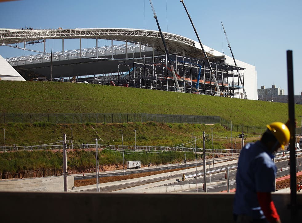 Construction work continues at the Itaquerao stadium, also known as Arena de Sao Paulo and Arena Corinthians