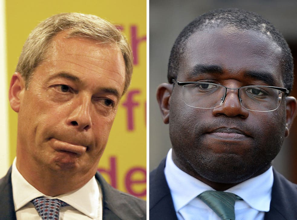 The Labour MP David Lammy (right) has accused Ukip leader Nigel Farage of being 'clearly a racist' after he said he would be 'uncomfortable' if a family of Romanians moved in next door