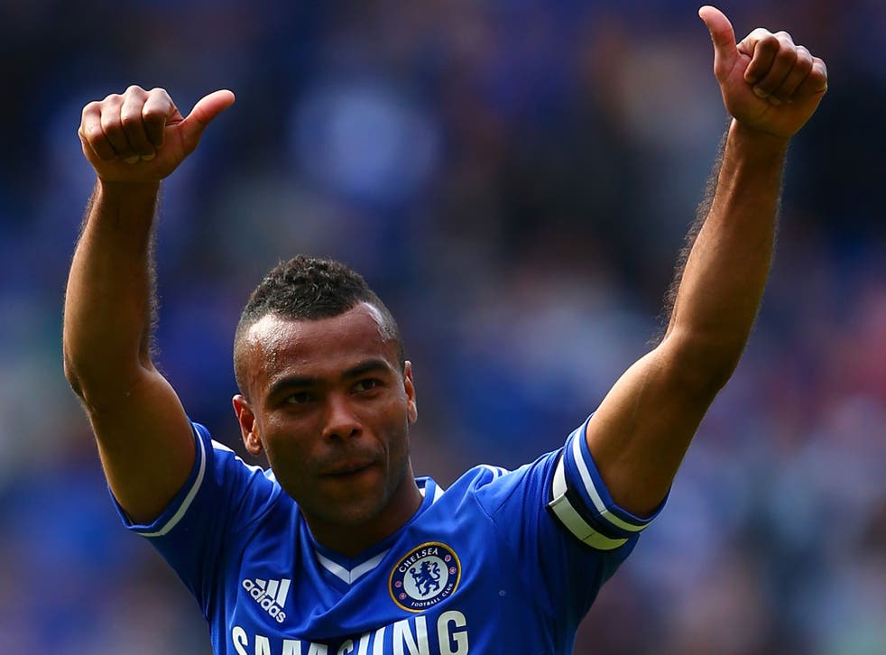 Ashley Cole salutes the fans on his last game for Chelsea