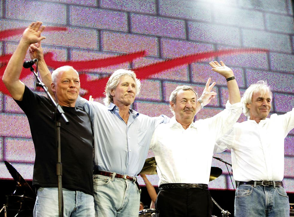 Pink Floyd on stage at Live 8 in 2005. From left to right: David Gilmour, Roger Waters, Nick Mason and Rick Wright
