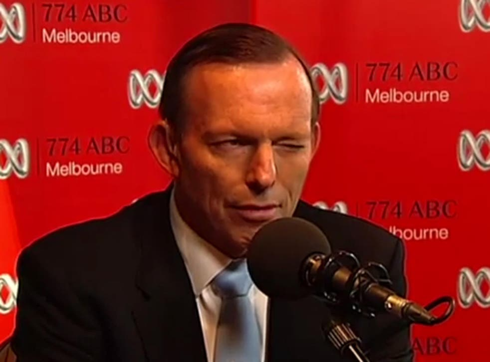 The moment Australian Prime Minister Tony Abbott winked during a serious radio phone-in