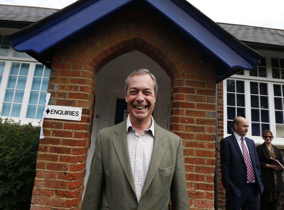 Nigel Farage before voting in the European elections in Cudham, Kent