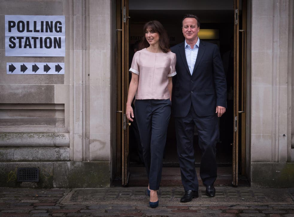 David and Samantha Cameron voted in London