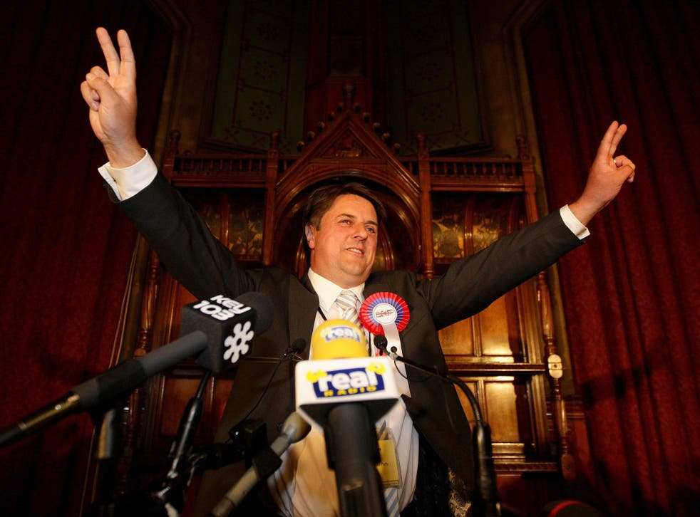 Nick Griffin celebrates in 2009 as the European results are announced at Manchester town hall