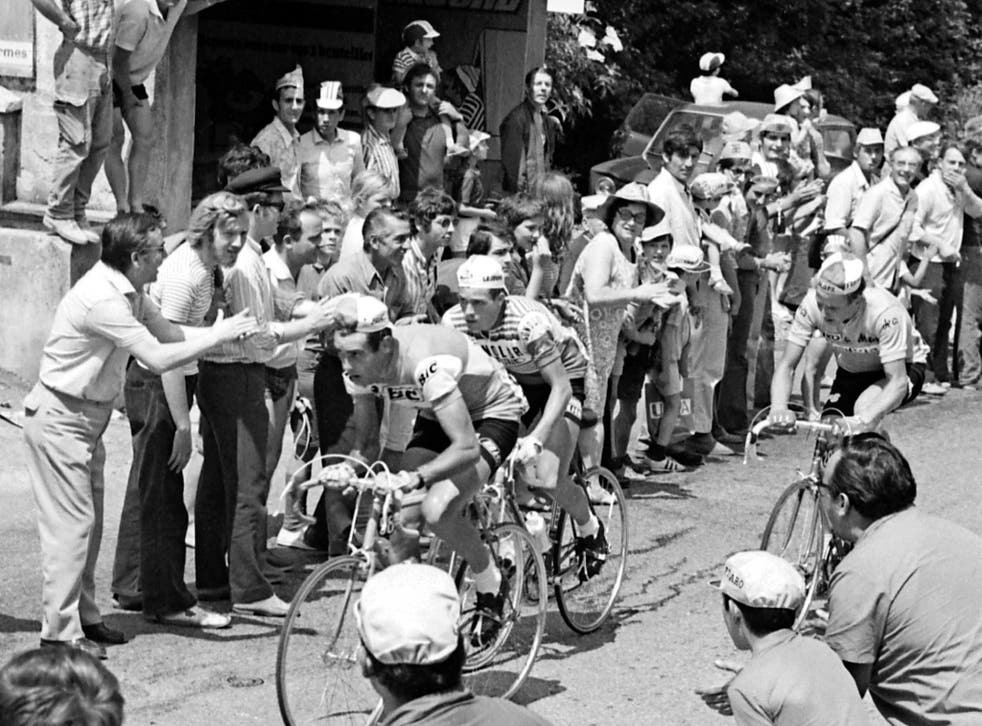 Luis Ocana (left) leads the 11th stage of the 1971 Tour de France between Grenoble and Orcières-Merlette
