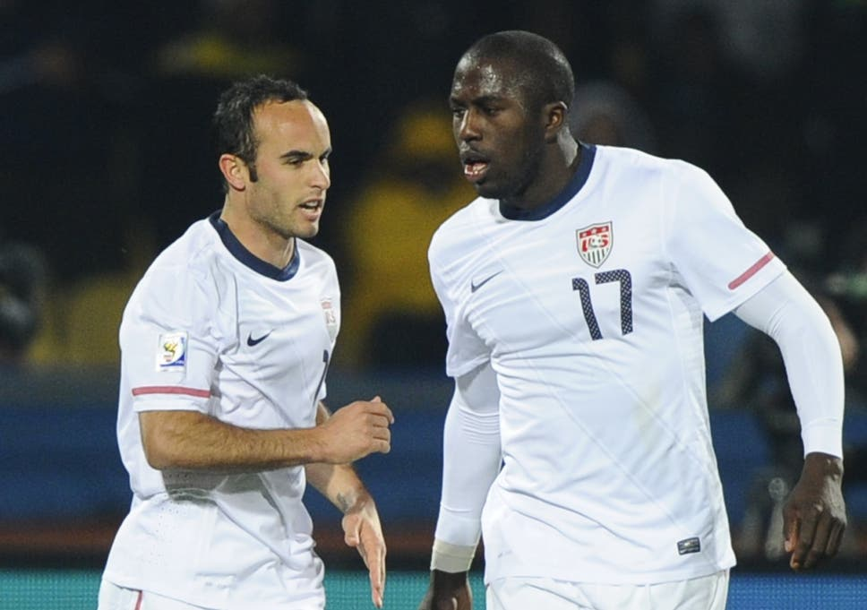 ff6189e0f2c US midfielder Landon Donovan (L) celebrates after scoring with US striker  Jozy Altidore during