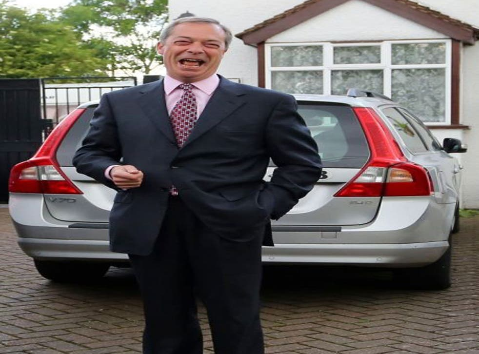 UKIP Leader Nigel Farage leaves his home in Cudham, Kent, as his party made gains across the country following yesterdays voting in local council elections.