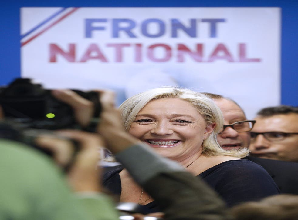 Marine Le Pen's Front National topped a nationwide poll for the first time in its history, with the anti-immigrant party predicted to take 25 per cent of the vote and as many as 24 seats in the European Parliament