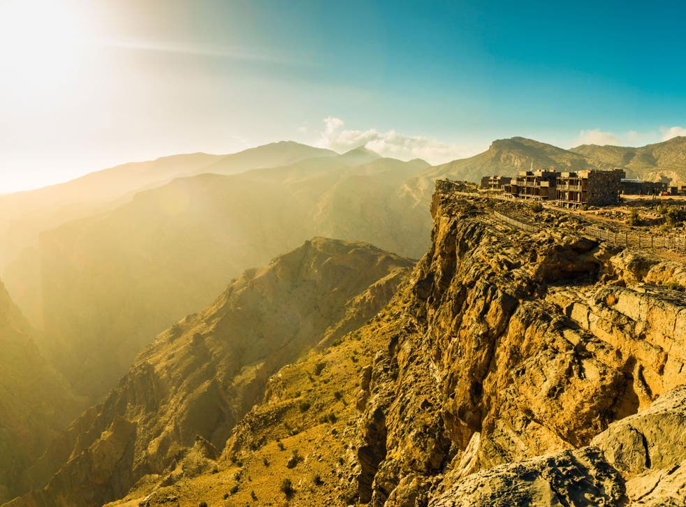 The Alila Jabal Akhdar hotel perches at the top of a dramatic valley
