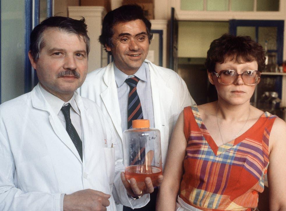 Virus hunters: Françoise Barré-Sinoussi with Luc Montagnier, left, and Jean-Claude Chermann at the Pasteur Institute in 1984