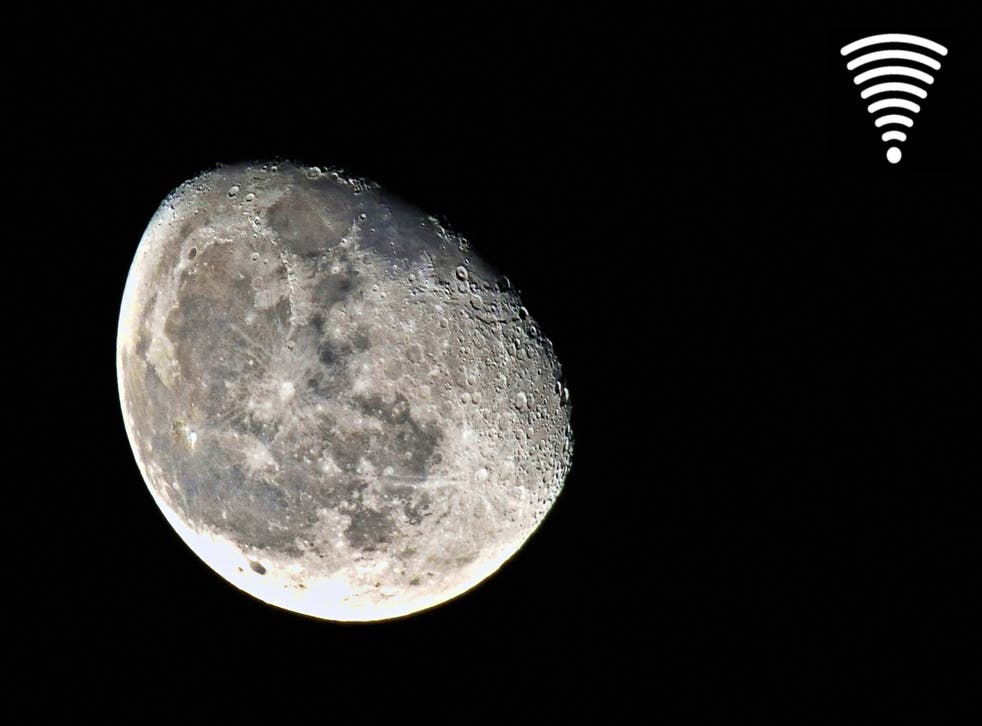 Moon broadband is achieved with laser-powered communication uplink through RF signals