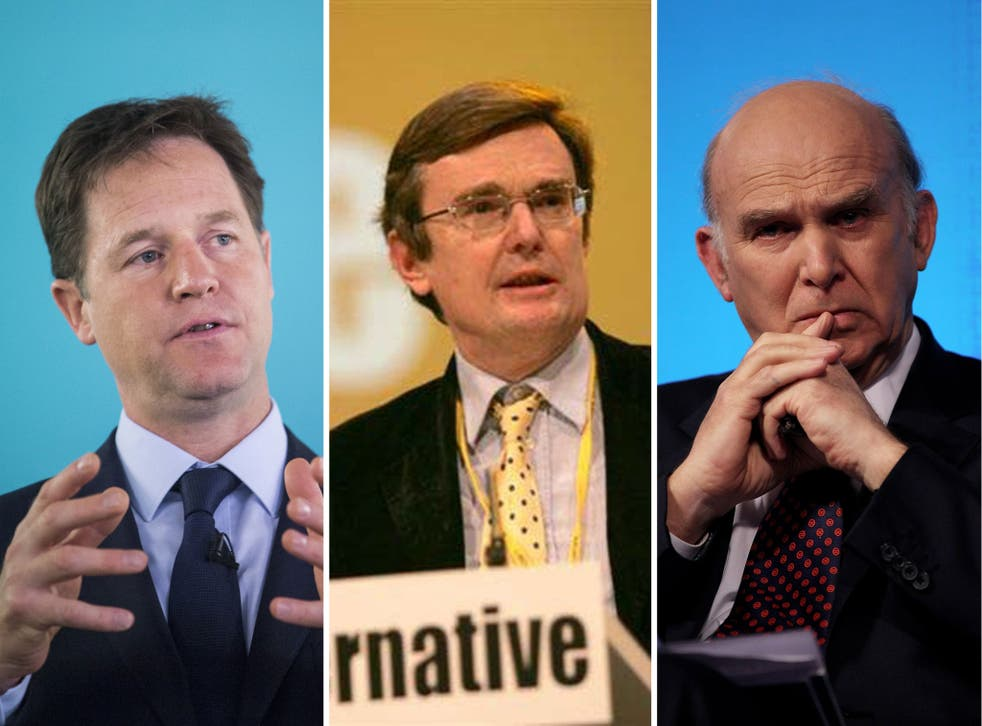 Lib Dem leader Nick Clegg, peer Lord Oakeshott and the Business Secretary, Vince Cable, as the party faces a crisis over its leadership