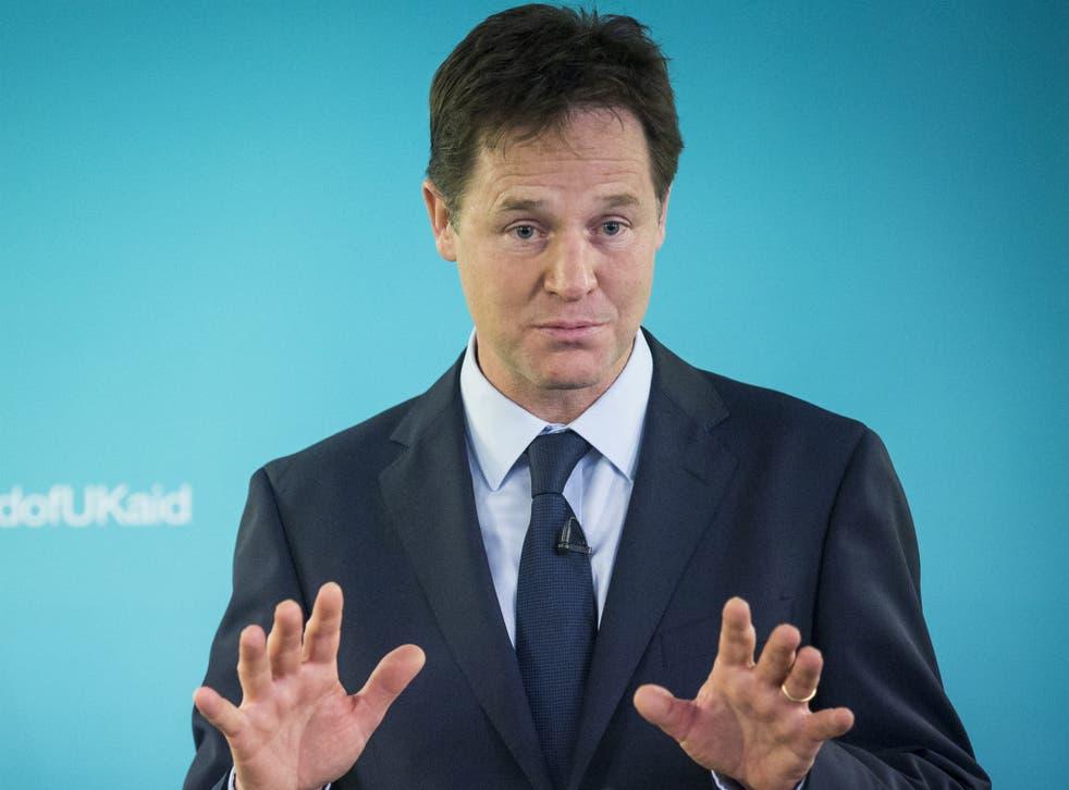 Nick Clegg giving a speech on international development in London on Wednesday
