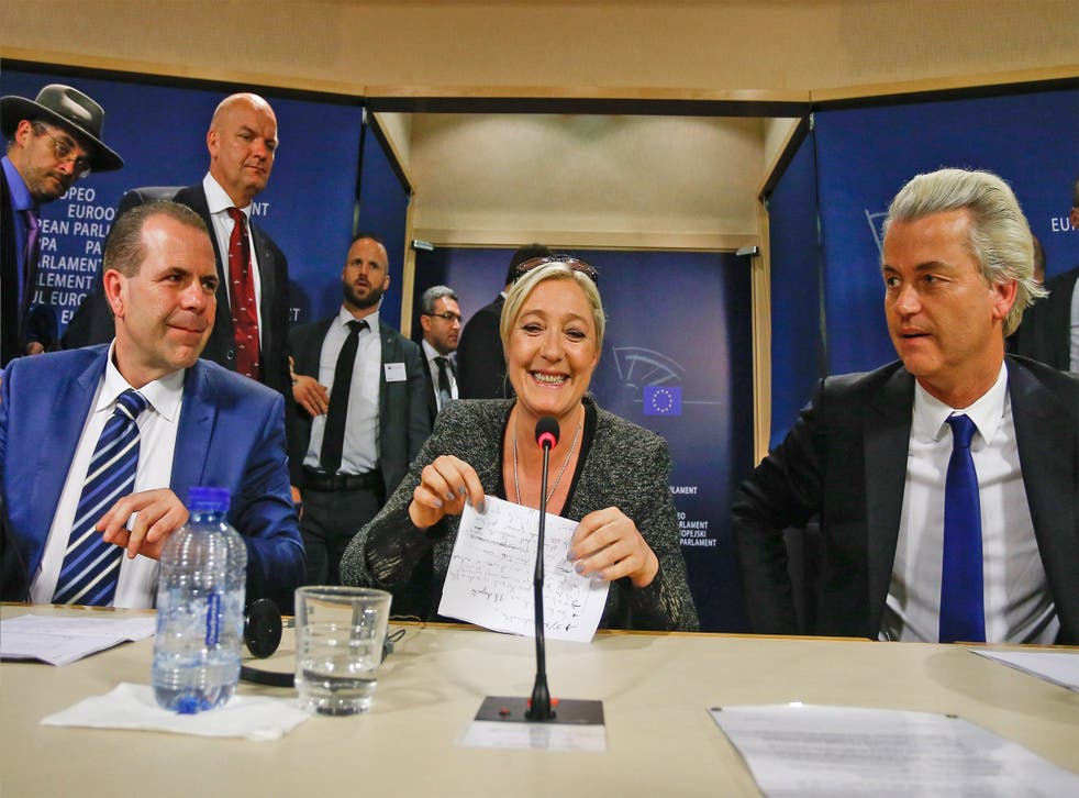 Front National leader Marine Le Pen in Brussels with Harald Vilimsky, from the Austrian Freedom Party (left) and Geert Wilders from the Dutch PVV party