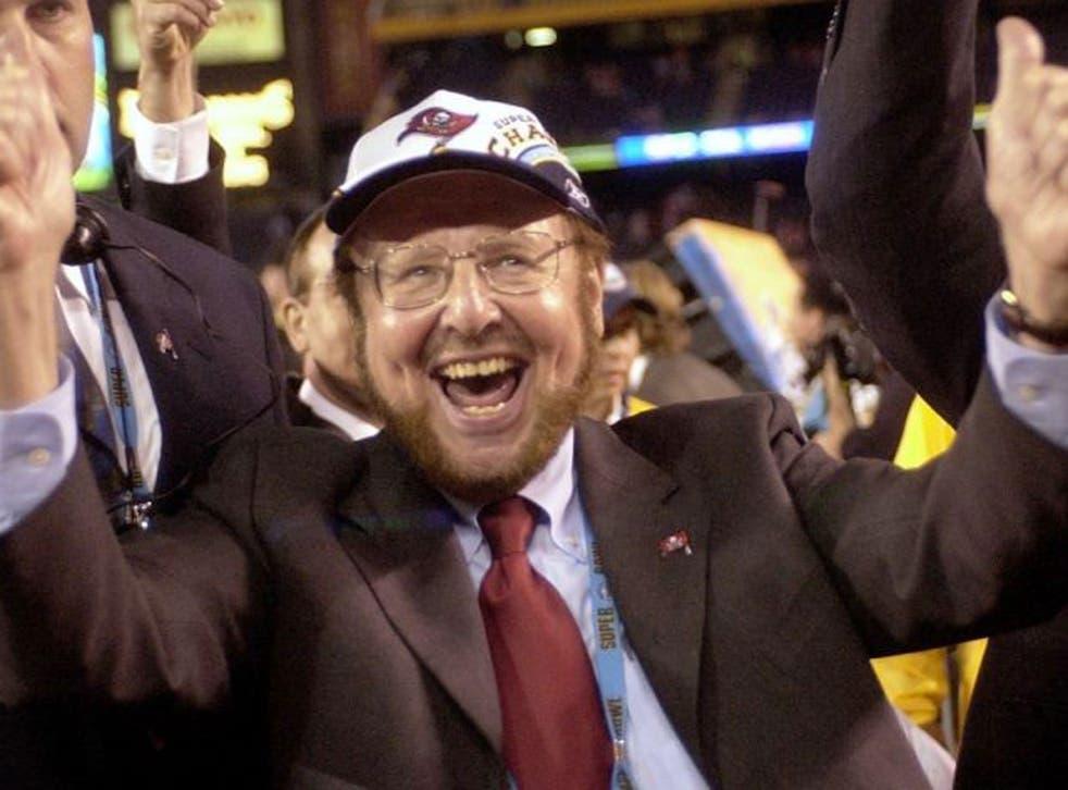 Glazer celebrates the Tampa Bay Buccaneers' Super Bowl triumph in 2003