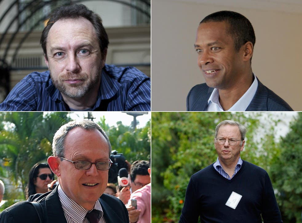 On Google's advisory panel: (clockwise from top left) Jimmy Wales, Wikipedia co-founder; David Drummond, Google senior vice president; Eric Schmidt, Google chairman; Frank La Rue, UN special rapporteur on freedom of expression