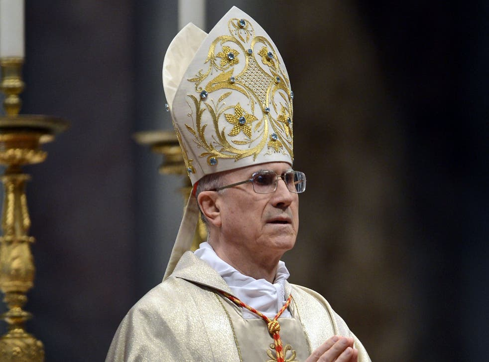 Vatican secretary of State Tarcisio Bertone presides over the mass in St.Peter's Basilica to mark the 900th anniversary of the Order of the Knights of Malta, on February 9, 2013 at the Vatican.