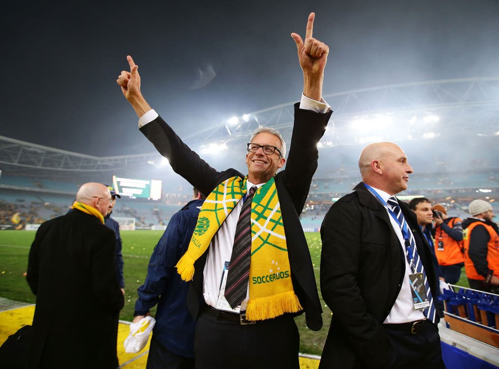 File: The FFA's David Gallop celebrates and waves to fans after the Socceroos victory during the FIFA 2014 World Cup Asian Qualifier on 18 June, 2013