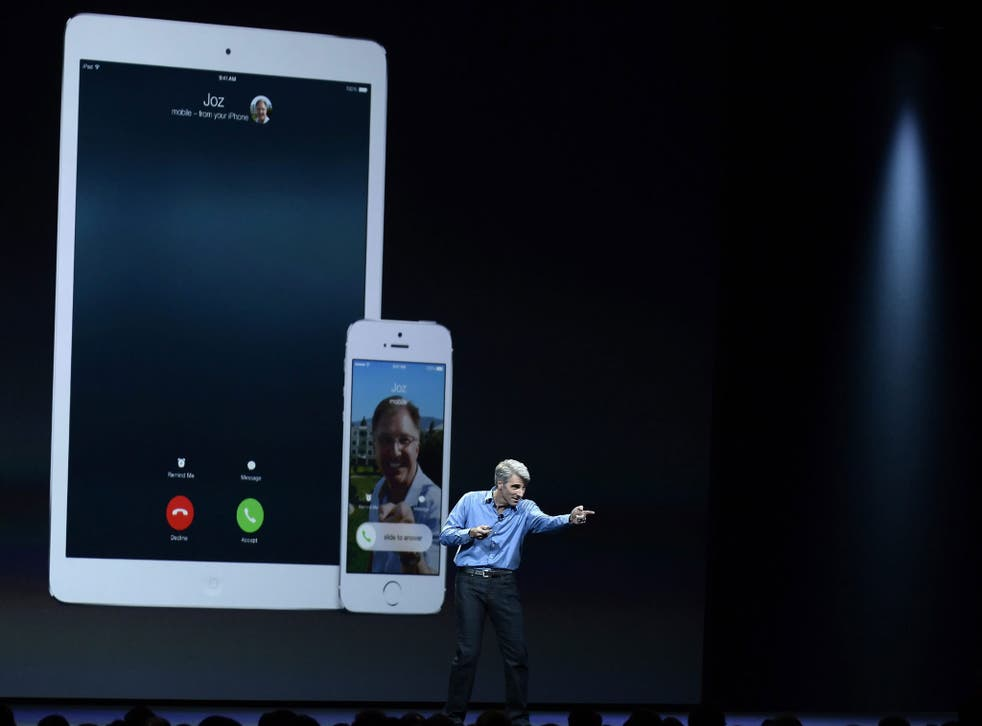 Apple Senior Vice President, Software Engineering Craig Federighi talks about some of the features in the new iOS 8 mobile operating system at the Apple Worldwide Developers Conference (WWDC) 2014