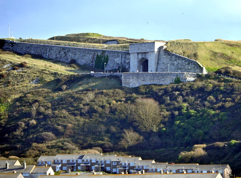 The imposing entrance  to Verne prison on the Isle of Portland in Dorset. The jail was built in the 1840s