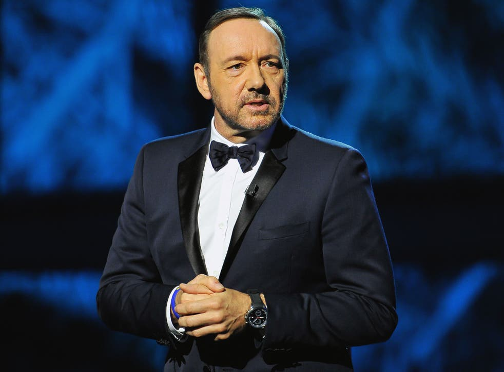 Kevin Spacey pictured hosting the 2014 Breakthrough Prizes Awarded in Fundamental Physics and Life Sciences Ceremony at NASA Ames Research Center on December 12, 2013 in Mountain View, California.