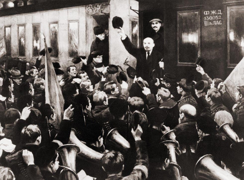 Supporters greet Lenin on his arrival at Finland Station, Petrograd, on 16 April 1917, after a week-long journey by sealed train from Switzerland