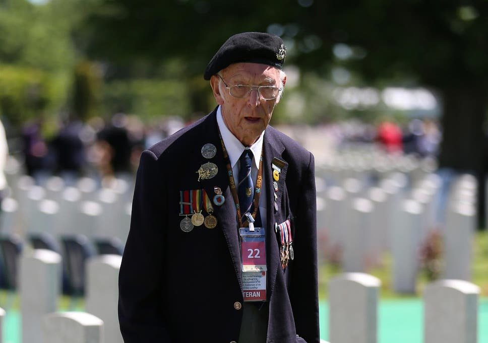 Veteran Bert Banford 90 In Bayeux Cemetery After The Memorial Service