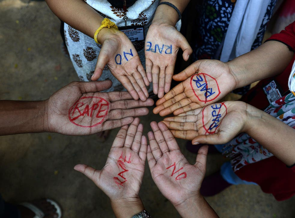 Indian students participate in an anti-rape protest