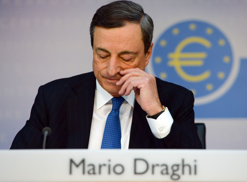 President of the European Central Bank (ECB) Mario Draghi attends a press conference in Frankfurt am Main, on June 5, 2014.