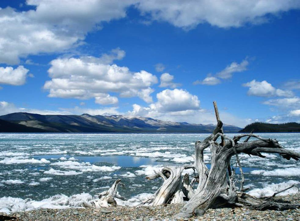 Take it slow: Ed's travels took him to Khovsgul Lake in Mongolia