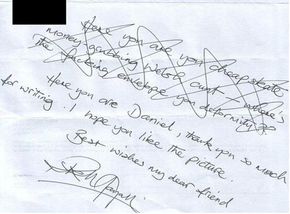 Mayall's letter got a fairly serious re-draft