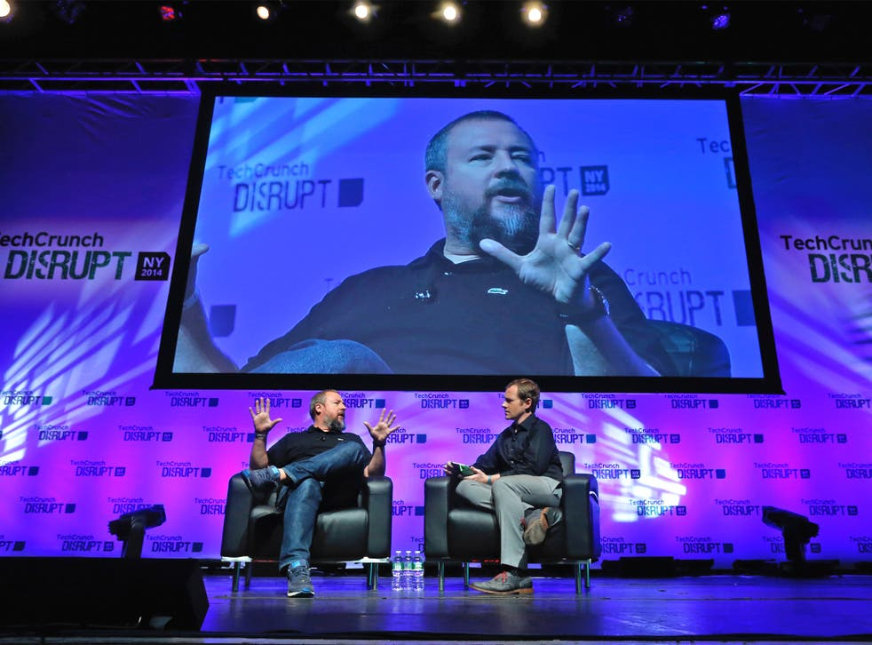 Vice co-founder Shane Smith (left) with TechCrunch journalist Ryan Lawler at a recent event in New York