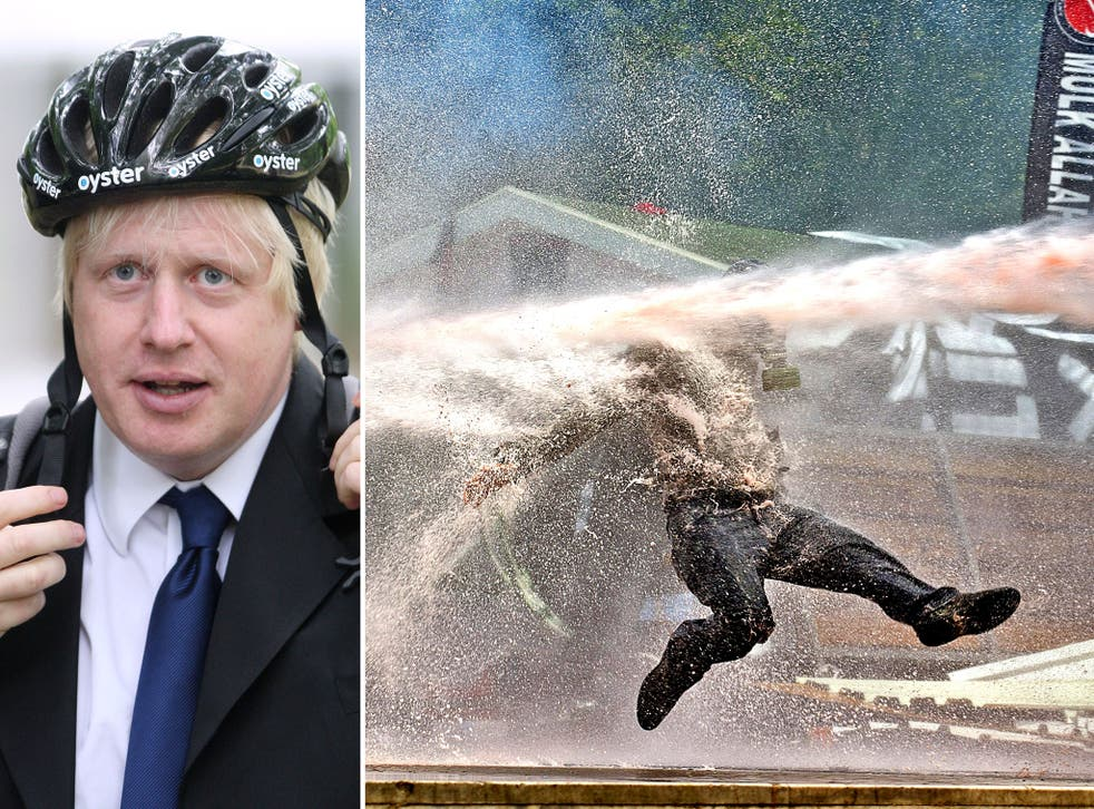 London Mayor Boris Johnson has agreed to be blasted by water cannon